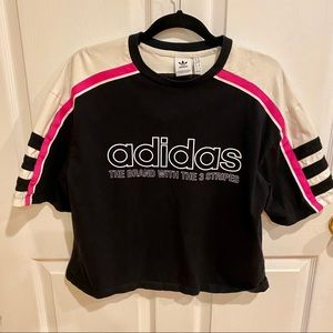 Adidas 3 Stripe Black Cropped Shirt - Size M